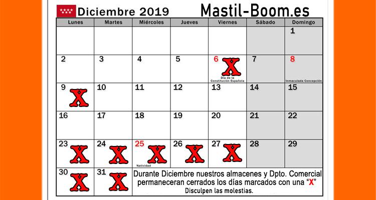 Mastil-Boom Cerrado 6, 9, 23, 24, 26, 27, 30 y 31 de Diciembre